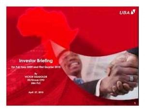 United Bank For Africa | Investor Analyst Presentations
